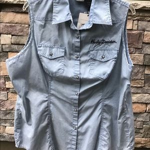 Harley Davidson sleeveless chambray 1X blouse